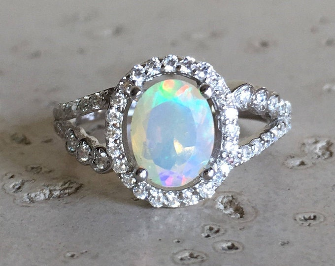 Opal Halo Deco Engagement Ring- Genuine Welo Opal Oval Promise Ring for Her- Fire Opal Split Double Anniversary Ring-October Birthstone Ring
