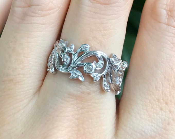 Womens Floral Wedding Band- White Topaz Filigree Eternity Band- Wide Band Sterling Silver Ring- Bridal Carving Band- Unique Engagement Ring