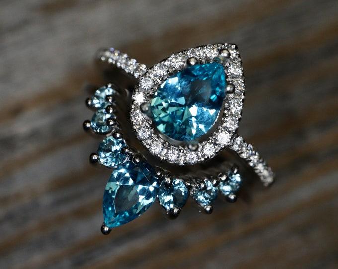 Teardrop Paraiba Tourmaline Bridal Ring Set- Pear Blue Tourmaline Engagement 2 Ring Set- Blue Halo Sterling Silver Ring with Wedding Band