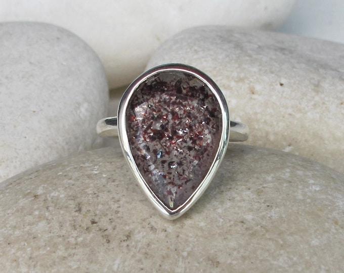 Red Fire Quartz Gemstone Engagement- Large Lepidocrocite Bezel Solitaire Ring- Unique Teardrop Engagement Ring- Simple Pear Shape  Ring