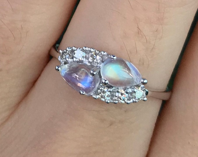 Moonstone Diamond Promise Ring for Her- Cluster Moonstone White Gold Anniversary Ring- June Birthstone Iridescent Ring