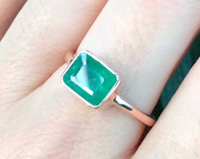 1.57ct Emerald Genuine Rose Gold Ring- Rectangle Emerald Minimalist Ring- Simple East West Solitaire Ring- May Birthstone Bezel OOAK Ring