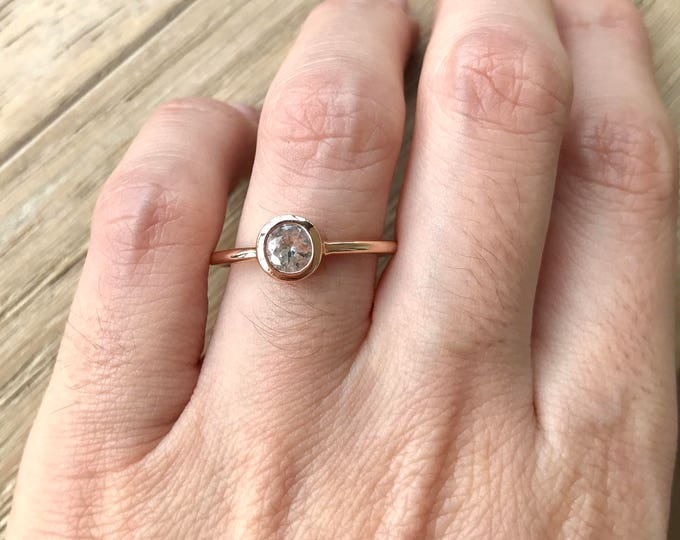 Rose Gold Sapphire Ring- White Sapphire Engagement Ring- Round Sapphire Promise Ring- Simple Classic Bridal Ring- September Birthstone Ring