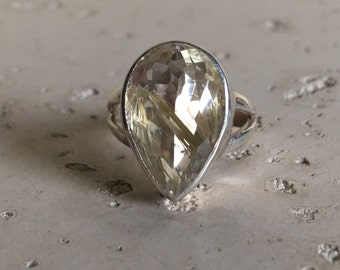 Gold Rutile Statement Ring- Rutile Quartz Ring- Unique Gemstone Ring- Gold Quartz Ring- Pear Shape Solitaire Ring- Sterling Silver Ring