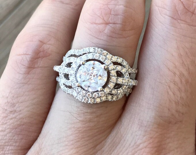 Cubic Zirconia Round Silver Bridal Ring Set- Rose Plated Deco 3 Ring Set for Her