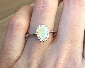 Oval Opal Engagement Ring- Genuine Opal Promise Ring- Halo Opal Anniversary Ring- Solitaire Welo Opal Ring- October Birthstone Ring