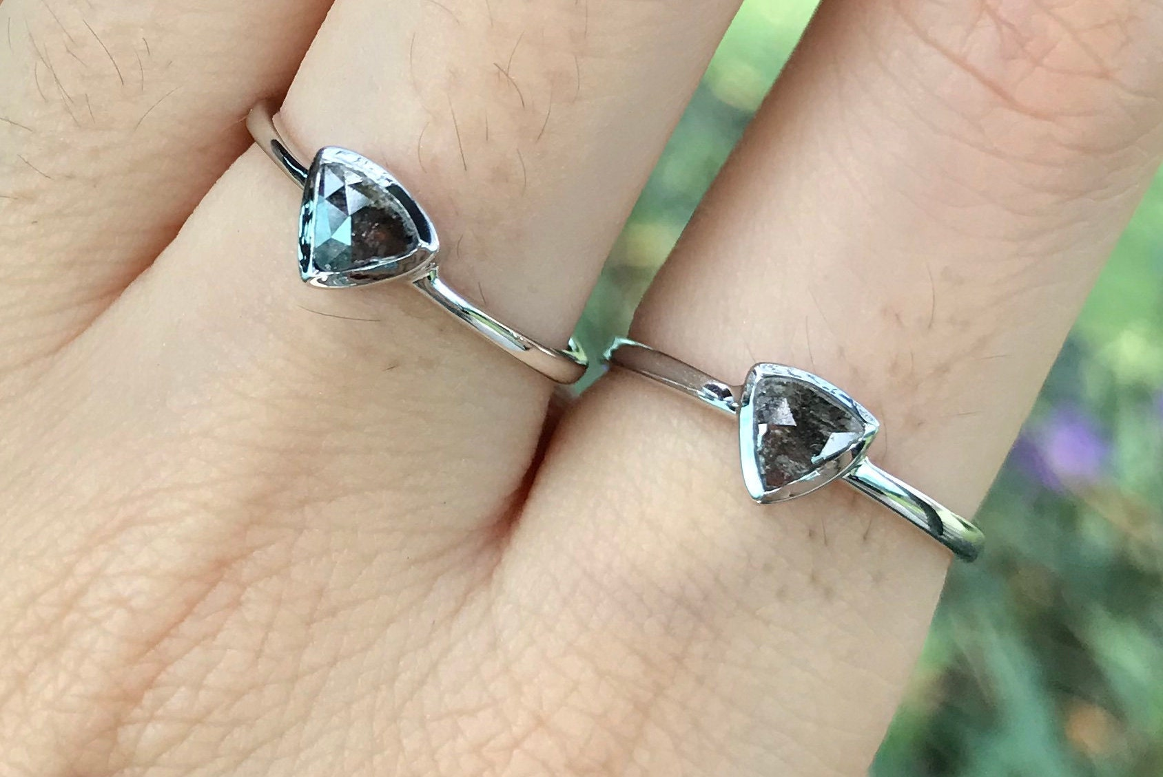 67919e1e2bfbe Triangle Gray Diamond Promise Ring For Her- White Gold Dainty Black ...