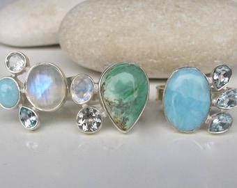 Cluster Ring Gemstone Turquoise Moonstone Bohemian All Sizes Multistone December June Ring Boho