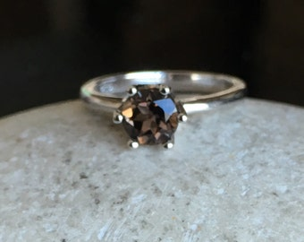 Smoky Quartz Solitaire Ring- Classic Promise Ring- Simple Gemstone Ring- Brown Stone Ring- Smoky Topaz Ring- Stackable Brown Ring