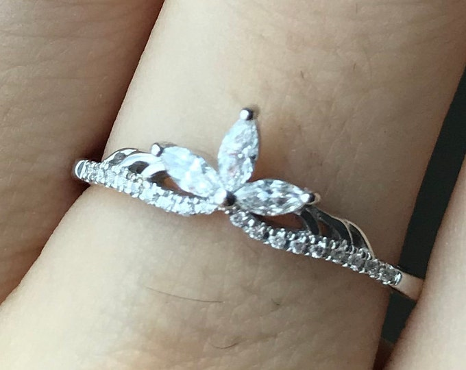 Diamond Marquise Women Wedding Vintage Band- Crown Tiara Diamond Deco Band- Solid Gold Nesting Wedding Band For Her- Stackable Diamond Ring