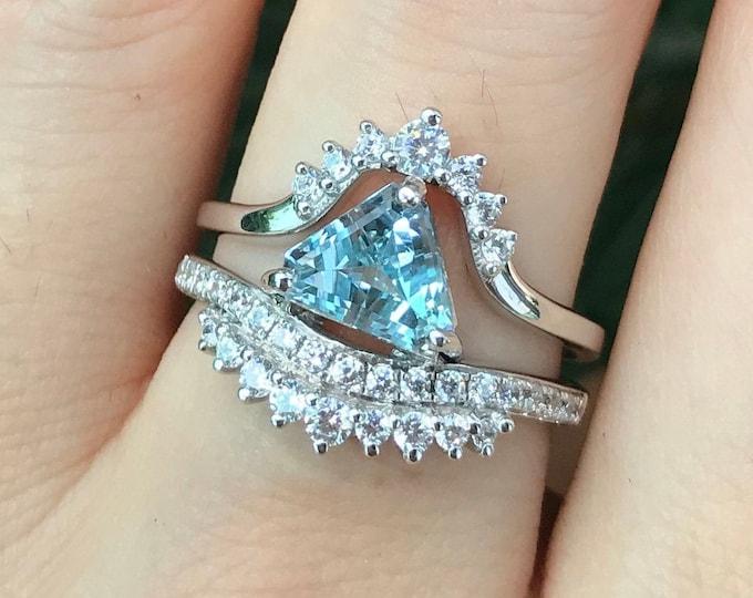 Aquamarine Trillion Bridal Ring Set- Triangle Aquamarine Unique Engagement Ring Set-Genuine Aquamarine 2 Piece Ring- Blue Stone Promise Ring