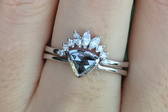 Slice Rustic Diamond Engagement Ring Gray Diamond Natural Prong Minimalist Engagement Ring Rough Diamond Stack Ring Raw Diamond Ring