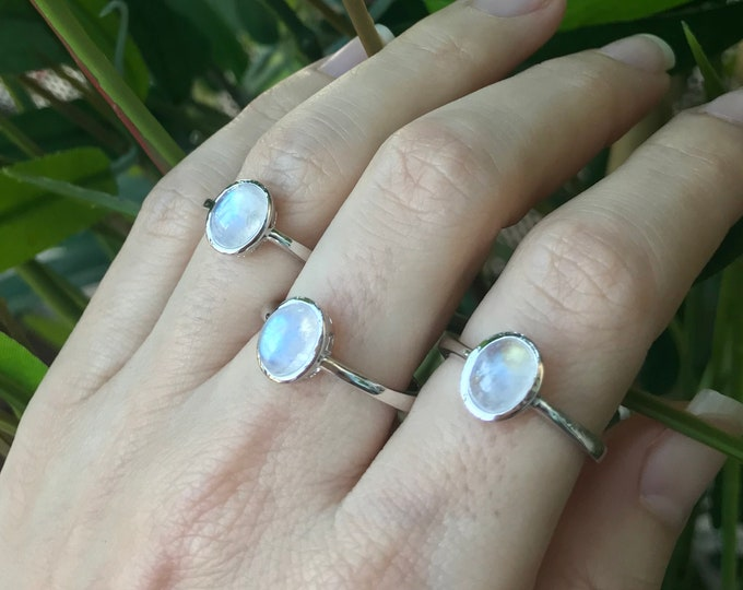 Rainbow Moonstone Boho Ring Stack June Birthstone Sterling Silver Oval Smooth Genuine Rainbow Ring Dainty Small Sterling Silver