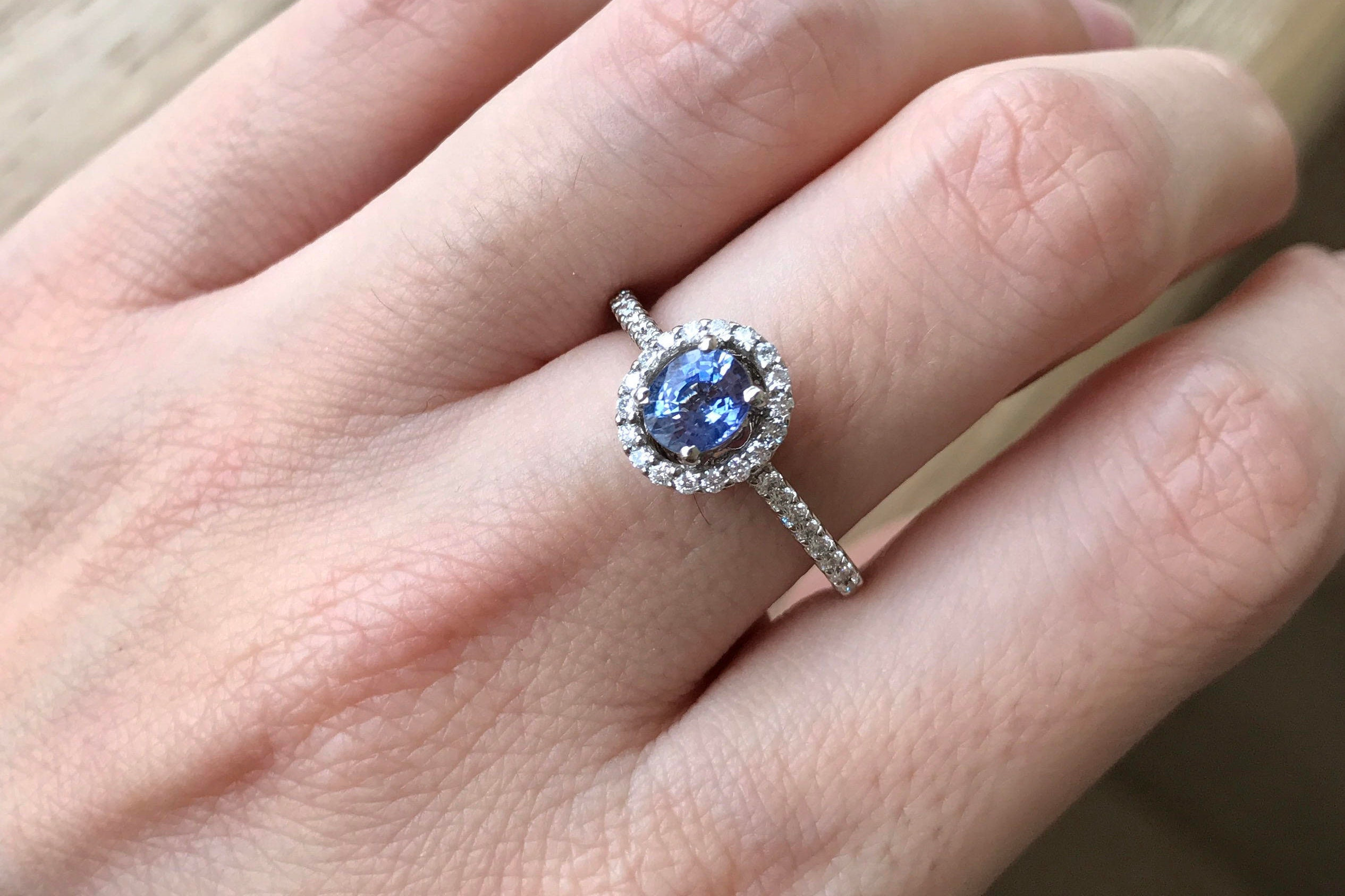 Blue Sapphire Engagement Ring Genuine Oval Sapphire Promise