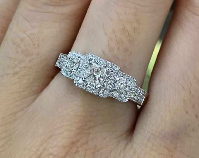 Genuine Princess 3 Diamond Vintage Ring- Antique Promise Diamond Ring for Her- Three Stone Deco Anniversary Ring