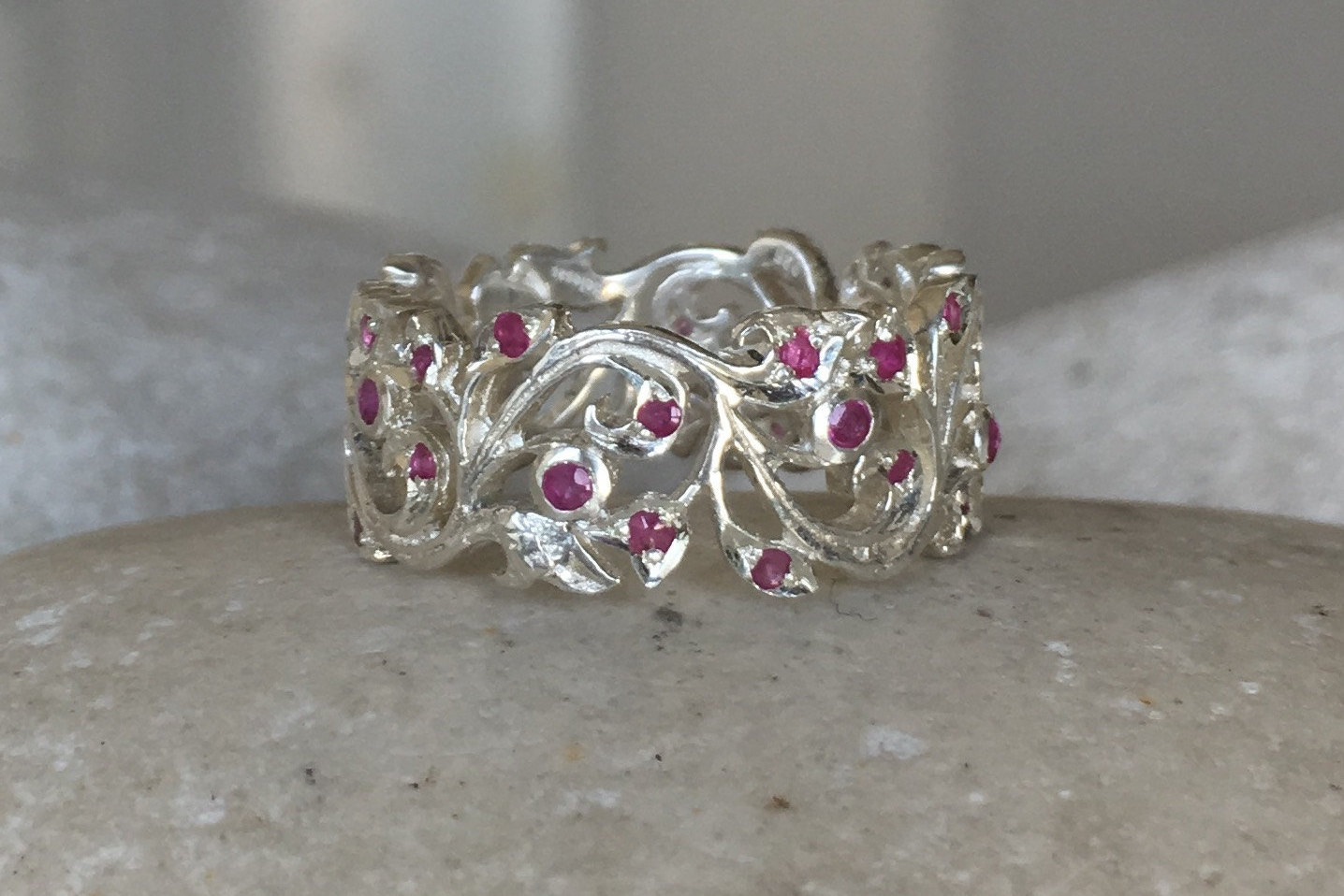 Ruby Floral Wedding Band Woman Filigree Eternity Band Sterling