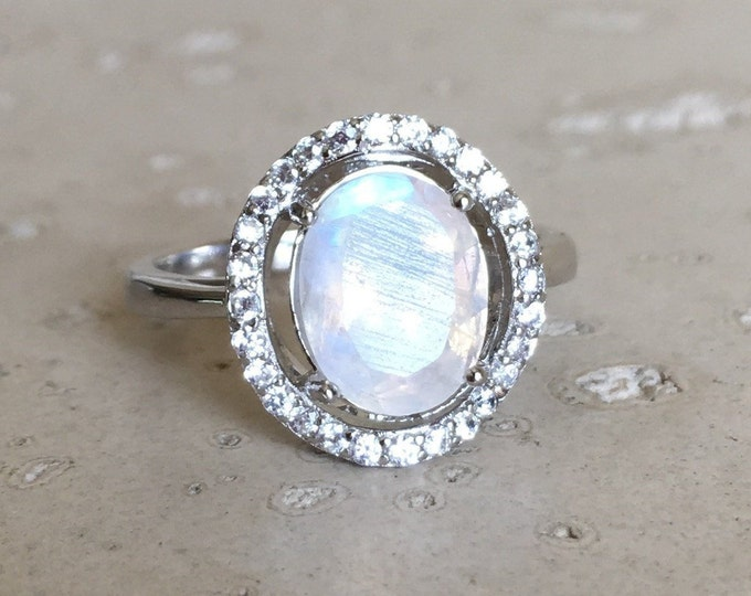 Halo Moonstone Engagement Ring- Oval Rainbow Moonstone Promise Solitaire Ring- Faceted Moonstone Anniversary Ring- June Birthstone Ring