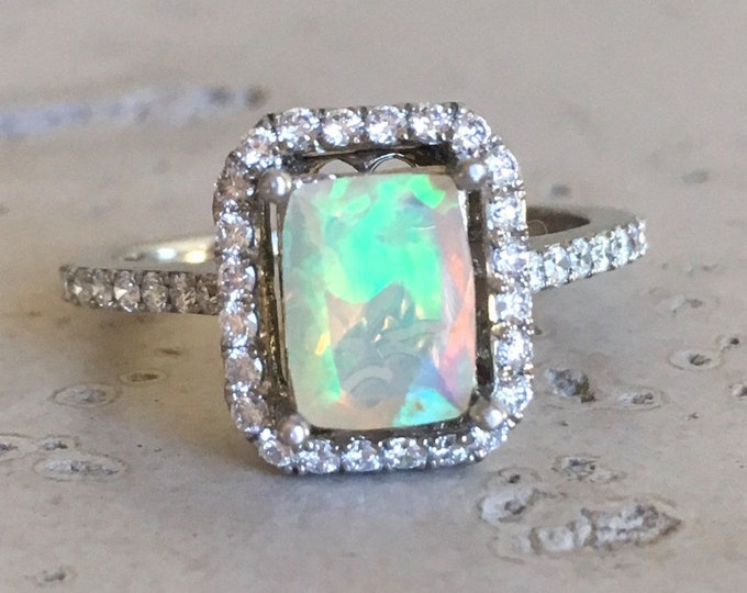 Emerald Cut Opal Engagement Ring- Rose Gold Promise Ring- Halo Diamond Opal Ring- Alternative Engagement Ring- Rectangle Genuine Opal Ring
