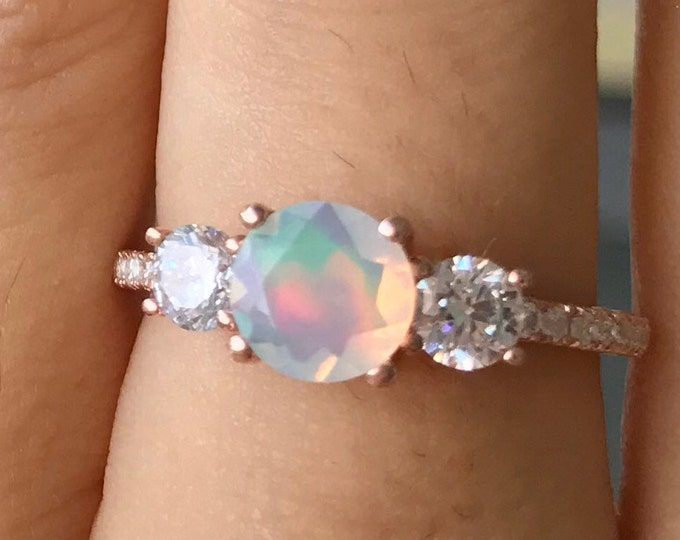 Genuine Opal Promise Ring For Her- Fiery Opal Three Stone Anniversary Ring- Welo Opal Solitaire Engagement Ring