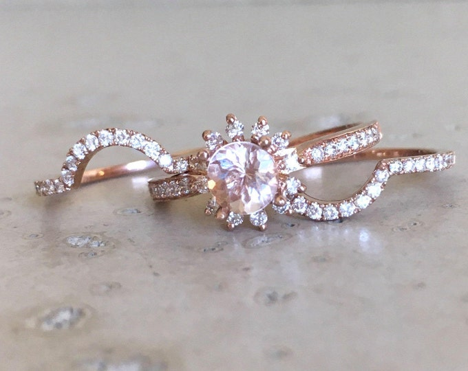 Morganite Floral Engagement Ring Set- Halo Morganite Diamond Bridal 3 Ring Set- Round Morganite Wedding Ring Set- Anniversary Gift for Her
