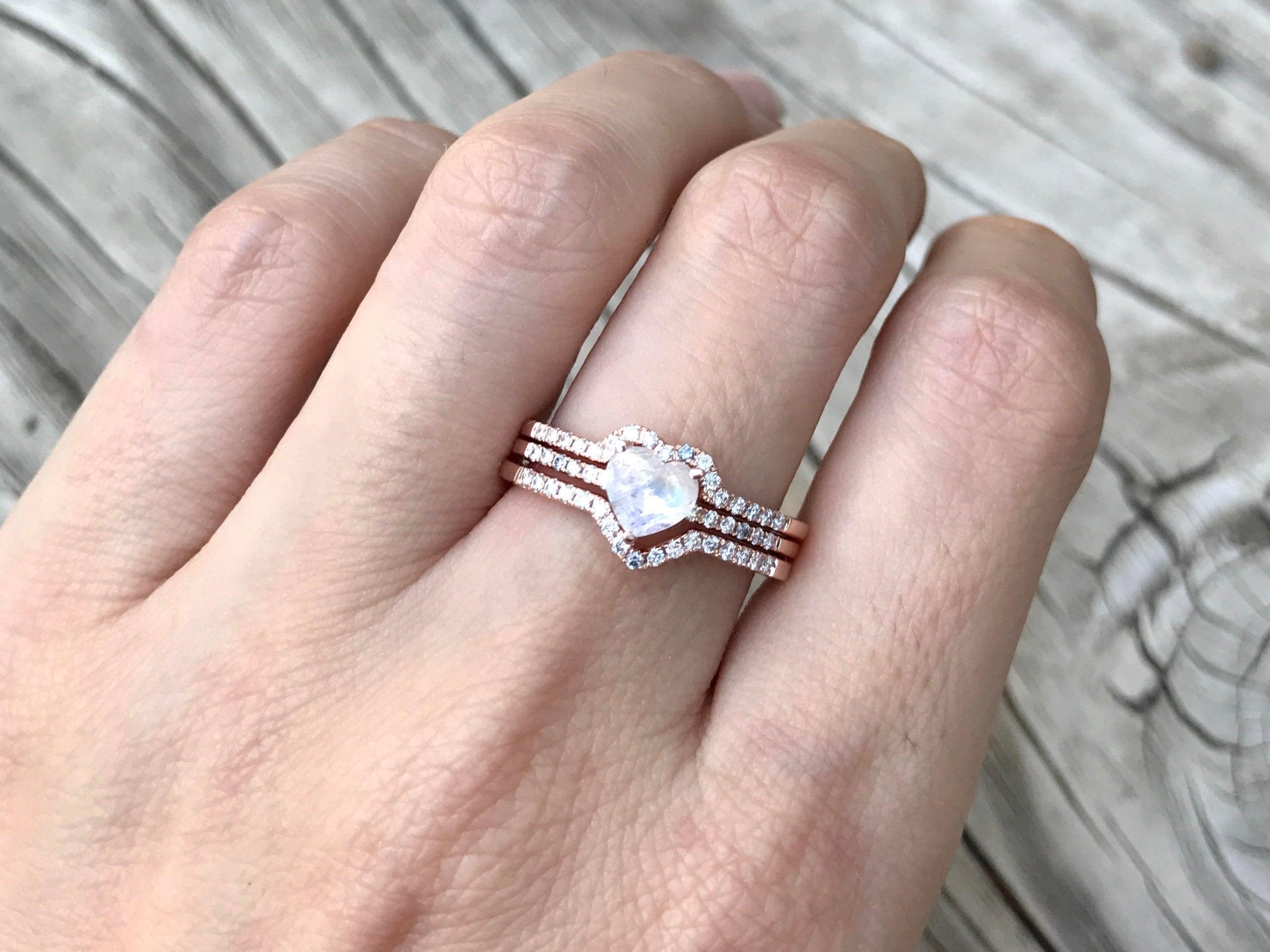 Heart Moonstone Bridal Set Ring- Rainbow Moonstone Engagement Ring ...