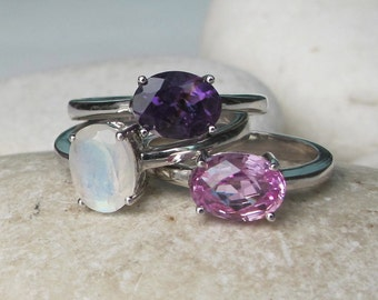 Birthstone Stack Ring- Stack Ring- Pink Topaz Ring- Moonstone Ring- Amethyst Ring- Mothers Ring- Gemstone Ring- June, February October Ring