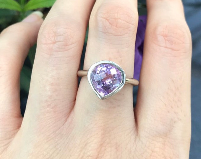 Purple Amethyst Teardrop Solitaire Ring- Genuine Amethyst Pear Silver Ring- Purple Gemstone Promise Ring for Her- February Birthstone Ring