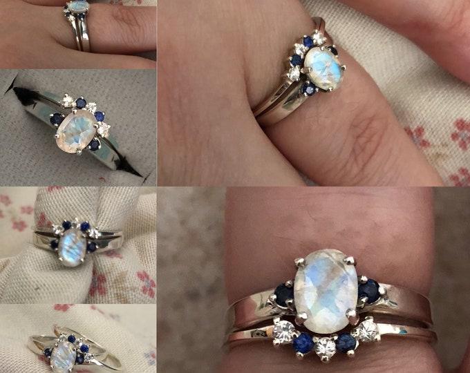 Moonstone Sapphire Engagement Ring Set-Oval Rainbow Moonstone Three Stone Halo Wedding Bridal Rings-Unique Moonstone Bridal Ring Set for Her