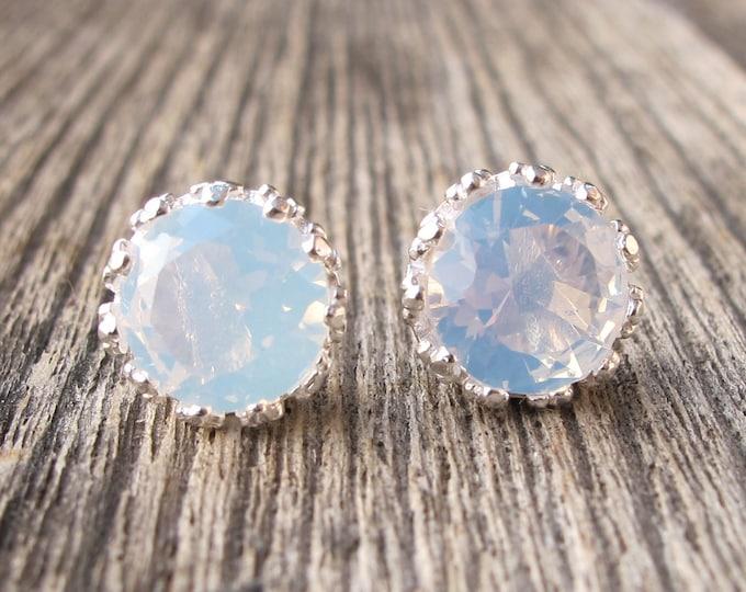 Bohemian Opalite Rainbow Stud- Boho Opal Earrings- Round Festive Stud Earring- Unique Gemstone Earring- October Birthstone Earring