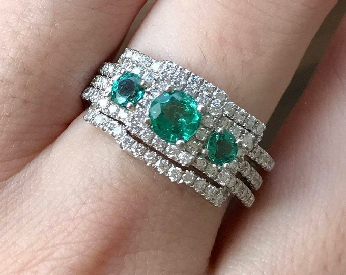 Genuine Emerald Engagement Ring Set- Three Stone Emerald Ring Set- Art Deco Three Piece Bridal Ring- Alternative Green Stone Bridal Set Ring