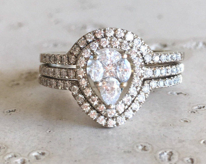 Cluster Diamond Bridal Set Ring- Art Deco Engagement Set Ring- Pear Diamond Engagement Ring- Edwardian Halo Diamond Ring-14k White Gold Ring