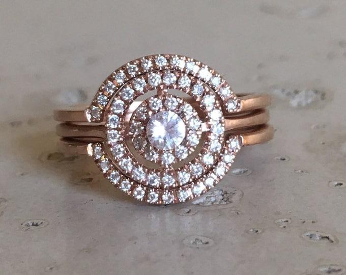 Halo White Sapphire Diamond Engagement 3 Ring Set- Rose Gold Bridal Set Ring- 3 Piece Genuine Round Diamond Wedding Ring Set