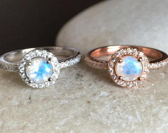 Rainbow Moonstone Engagement Ring- Moonstone Promise Ring- Rose Gold Moonstone Ring-June Birthstone Ring-Classic Anniversary Ring-Woman Ring