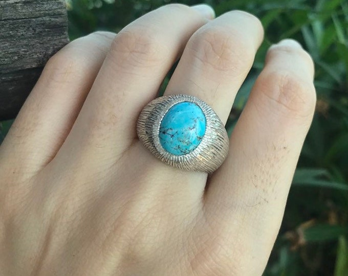 Oval Turquoise Solitaire Textured Ring- Statement Turquoise Unisex Ring- Men Woman Ring- Blue Gemstone Silver Ring-December Birthstone Ring