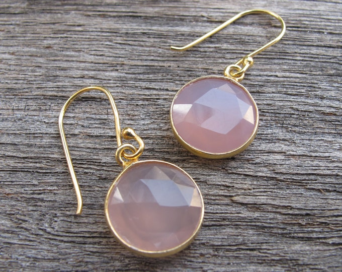 Round Pink Chalcedony Drop Earring- Rose Quartz Dangle Earrings- Pink Quartz Simple Earring- Pink Topaz Earring- Bridesmaids Earring