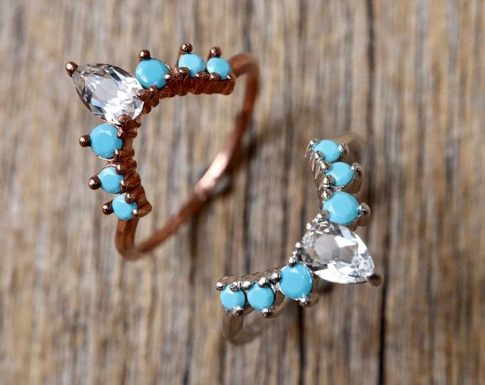 Turquoise Curve Wedding Band- Blue Stone Nesting Contour Band- Turquoise CZ Stack Chevron Band- Half Circle Bespoke Custom Band