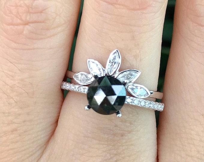 Rose Cut Black Diamond Bridal Set Ring- 1.21ct Round Genuine Black Diamond Engagement Ring Set- 4 Prong Black and White Diamond 2 Ring Set