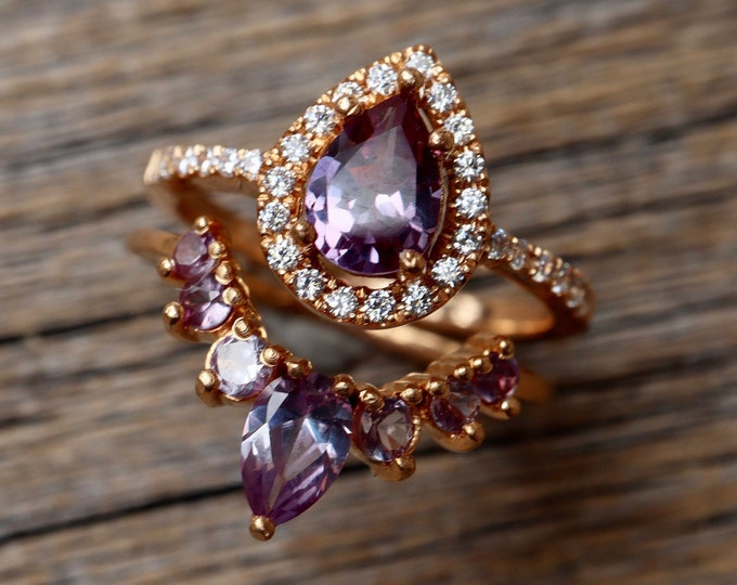 Teardrop Alexandrite Bridal 2 Ring Set- Pear Alexandrite Engagement w/Alexandrite Band- Halo Color Engagement Ring with Wedding Band