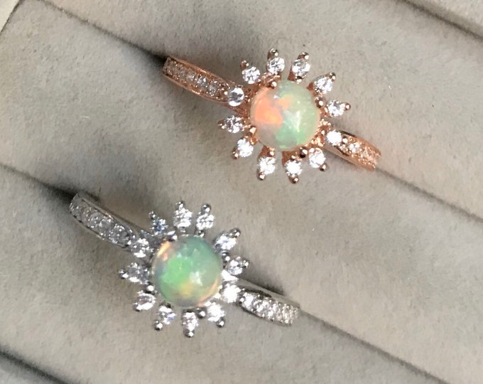 Floral Opal Genuine Halo Promise Dainty Ring- Round Natural Opal Engagement Ring- Welo Fiery Opal Prong Solitaire Ring- Iridescent Ring