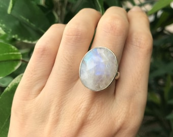 Rainbow Moonstone Statement Ring- Large Oval Moonstone Ring- Festive Solitaire Ring- Bohemian Gypsy Silver Ring- All Sizes 9 10 June Ring