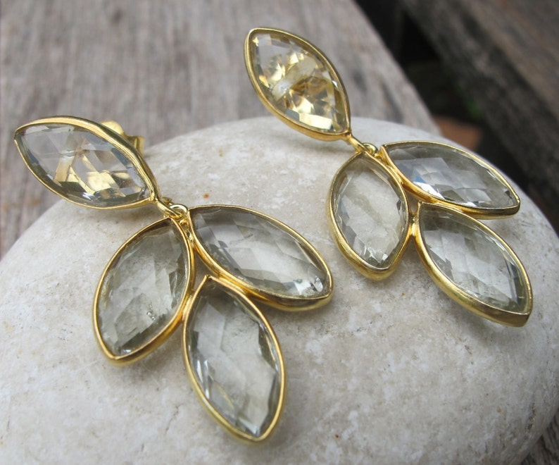 February Earring Cascading Green Stone Earring Boho Gemstone Post Earring Unique Stud Earring Green Amethyst Statement Long Earring