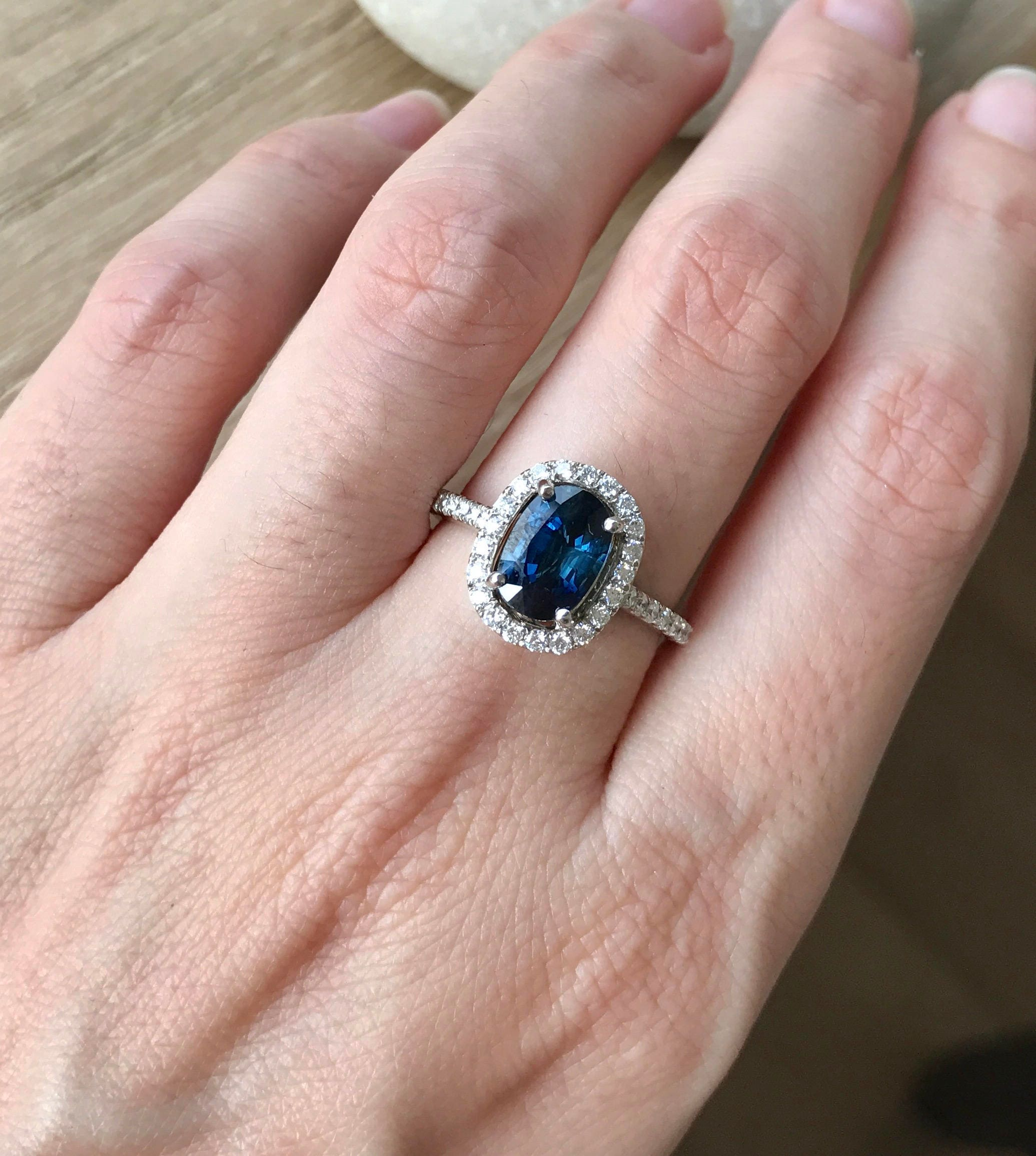 Blue Sapphire Engagement Ring Genuine Oval Blue Sapphire | Etsy