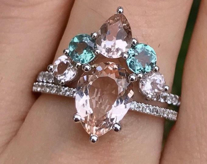 Genuine Pear Morganite Alexandrite Engagement 2 Ring Set- Teardrop Color Gemstone Bridal Ring with Matching Band 14k 18k