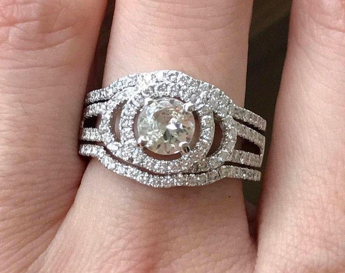 White Sapphire Deco Ring- Unique Bridal Set Rings- Vintage Bridal Sets- Three Piece Engagement Set- Big Bridal Set- Double Band Ring