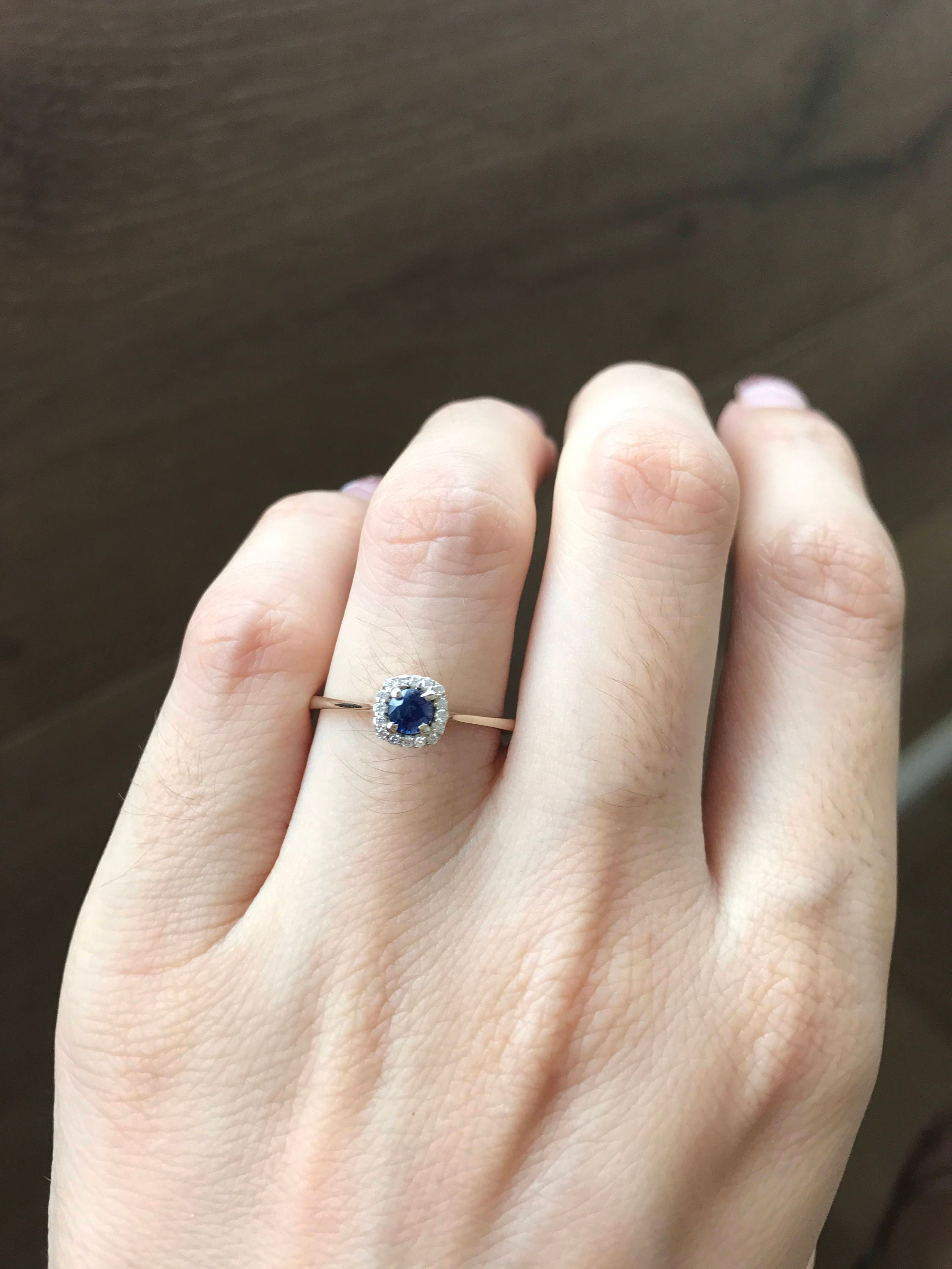 Simple Sapphire Enement Rings | Blue Sapphire Engagement Ring Dainty Sapphire Promise Ring Halo