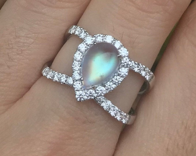 Teardrop Moonstone Diamond Statement Ring- Genuine Moonstone Twist Ring- Rainbow Moonstone Pear Double Band Ring- Moonstone Solitaire Ring