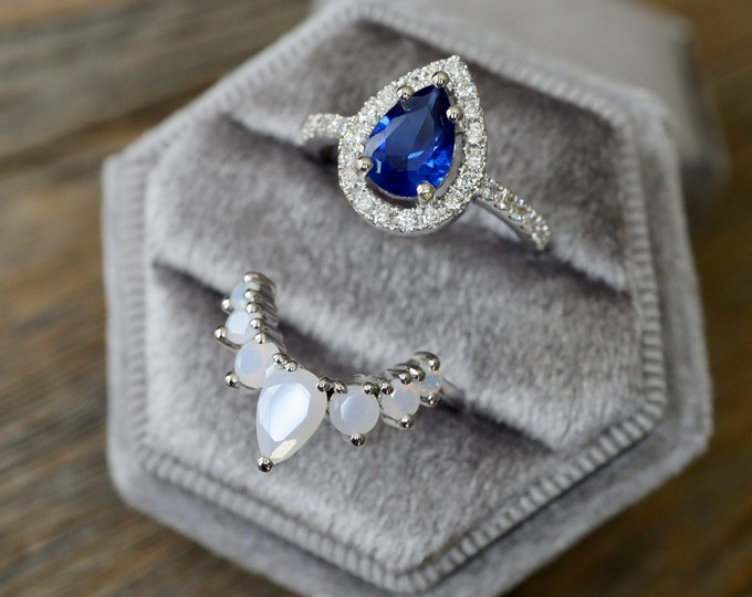 Teardrop Blue Sapphire Bridal Ring Set- Pear Sapphire with White Opal Engagement 2 Ring Set- Dark Blue Halo Sapphire Diamond Accent Ring