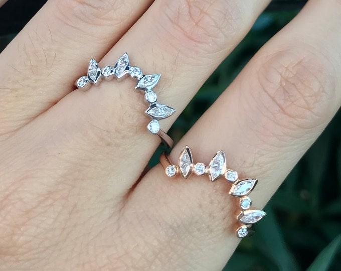Women's Curved Contour Diamond Wedding Band- Diamond SemiCircle V Arc Band- Marquise Diamond Stack Ring- Sunburst Customize Stacking Band