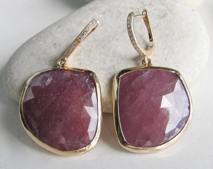 Rose Gold Raw Statement Earring- Pink Sapphire Dangle Earring- Rough Gemstone Drop Earring- September Birthstone Earring- Boho Large Earring
