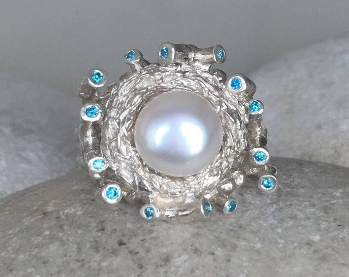Bird Nest Pearl Ring- Pearl Engagement Ring- Nature Inspired Engagement Ring- Genuine Pearl Ring- Natural Pearl Ring June Birthstone Ring